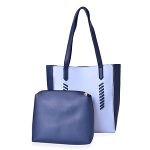 Navy and Light Blue Set of 2 Faux Leather Tote (13x1x11 in) and Matching Pouch (10x8 in)
