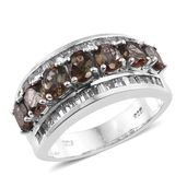 Jenipapo Andalusite, White Topaz Platinum Over Sterling Silver Ring (Size 8.0) TGW 3.50 cts.