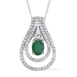 Kagem Zambian Emerald, Cambodian Zircon Platinum Over Sterling Silver Double Inner Drop Pendant With Chain (20 in) TGW 2.10 cts.