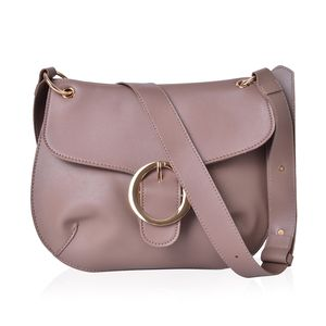 Taupe Faux Leather Crossbody Saddle Bag (11x8 in)