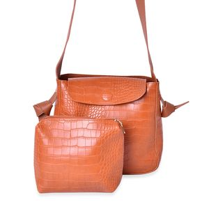 Cognac Crocodile Embossed Faux Leather Saddle Bag (10x3x9 in) with Matching Inner Clutch Purse (8x2x6.5 in)