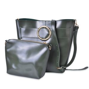 Green Faux Leather Set of 2 Handbag (13x8.7x11 in) with Removable Shoulder Strap