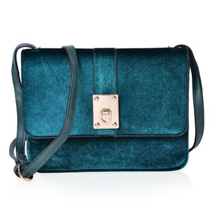 Forest Green Velvet and Faux Leather Flap Over Crossbody Bag (9x2x6.5 in)
