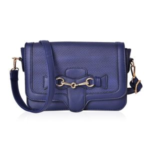 Blue Faux Leather Sling Bag (9.5x2.7 in)