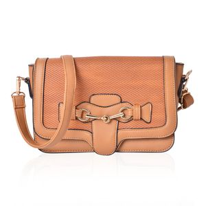 Camel Faux Leather Sling Bag (9.5x2.7 in)