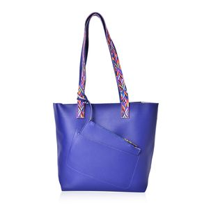 Blue Faux Leather Multi Color Tribal Print Strap Tote with Matching Removable Wristlet (15.5x5.5x11.5 in)