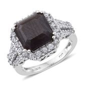 Asscher Cut Natural Silver Saphire, Cambodian Zircon Platinum Over Sterling Silver Ring (Size 7.0) TGW 10.37 cts.
