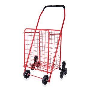 Red Iron Folding Cart with Stair Climbing Wheel (37x14x13 in)