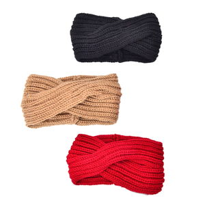 100% Polyester Set of 3 Red, Black and Camel  Winter Hairband (5x9 in)