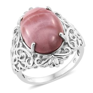 Australian Pink Opal Platinum Over Sterling Silver Ring (Size 9.0) TGW 10.00 cts.
