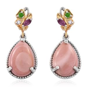 Australian Pink Opal, Multi Gemstone 14K YG and Platinum Over Sterling Silver Butterfly Drop Earrings TGW 8.17 cts.