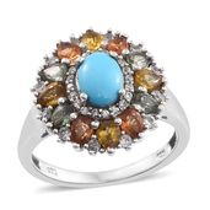 Arizona Sleeping Beauty Turquoise, Multi Gemstone Platinum Over Sterling Silver Ring (Size 7.0) TGW 3.75 cts.