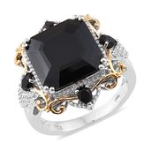 Asscher Cut Thai Black Spinel 14K YG and Platinum Over Sterling Silver Cocktail Ring (Size 7.0) TGW 16.30 cts.