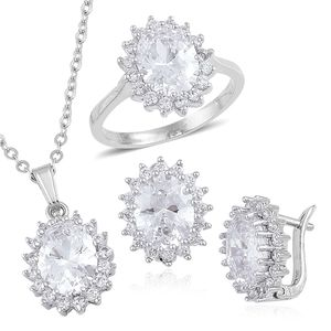 Simulated White Diamond Silvertone Floral Halo Ring (Size 8), Latch Back Earrings and Pendant With Chain (20 in) TGW 11.90 cts.