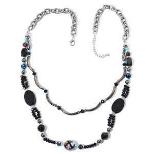 Kevin's Presidential Deal Hematite, Multi Gemstone Dualtone Necklace (28 in) TGW 263.00 cts.