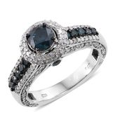 Mega Clearance Blue Diamond (IR), Diamond Platinum Over Sterling Silver Ring (Size 7.0) TDiaWt 2.50 cts, TGW 2.50 cts.