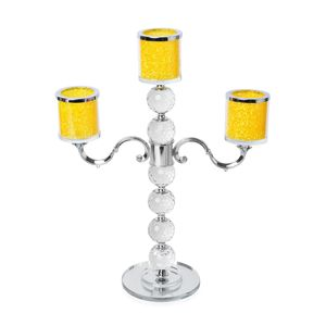 Doorbuster Yellow Crystal, Victorian Style Candle Holder (15x12 in)