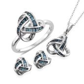 Doorbuster Blue Diamond (IR) Platinum Over Sterling Silver Knotted Earrings, Ring (Size 9) and Pendant With Chain (20 in) TDiaWt 0.92 cts, TGW 0.92 cts.