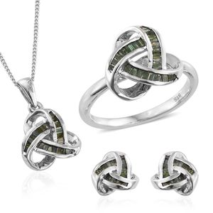 Green Diamond (IR) Platinum Over Sterling Silver Knotted Earrings, Ring (Size 9) and Pendant With Chain (20 in) TDiaWt 1.00 cts, TGW 1.00 cts.