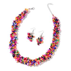 Multi Color Shell, Freshwater Pearl - White Silvertone Earrings and Necklace (19 in) TGW 610.00 cts.