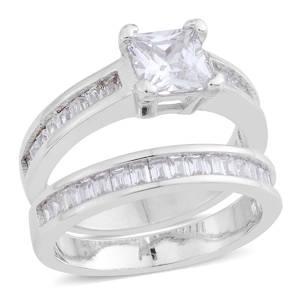 Simulated Diamond Silvertone Set of 2 Ring (Size 7) TGW 2.78 cts.