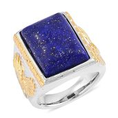 Lapis Lazuli ION Plated YG and Stainless Steel Men's Ring (Size 12.0) TGW 10.00 cts.