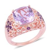 Rose De France Amethyst, Amethyst 14K RG Over Sterling Silver Statement Ring (Size 9.0) TGW 7.25 cts.
