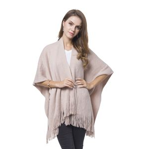 Pink 100% Acrylic Knitted Pattern Kimono with Tassels (27.56x37.41 in)