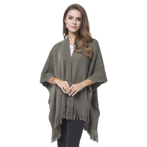 Green 100% Acrylic Knitted Pattern Kimono with Tassels (27.56x37.41 in)