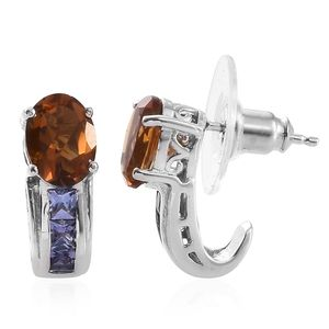Serra Gaucha Citrine, Tanzanite Platinum Over Sterling Silver J-Hoop Earrings TGW 2.48 cts.