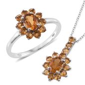 Serra Gaucha Citrine, Brazilian Citrine Platinum Over Sterling Silver Ring (Size 5) and Pendant With Chain (20 in) TGW 2.65 cts.