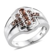 Jenipapo Andalusite Platinum Over Sterling Silver Men's Ring (Size 14.0) TGW 0.94 cts.