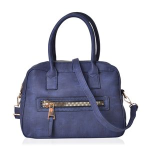 Navy Faux Leather Satchel Bag (11x5.3x7.4 in)