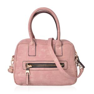 Blush Faux Leather Satchel Bag (11x5.3x7.4 in)