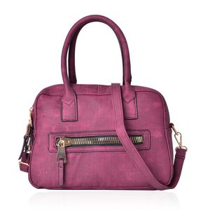 Burgundy Faux Leather Satchel Bag (11x5.3x7.4 in)