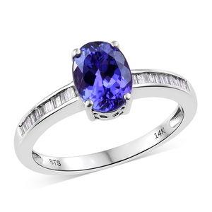 14K WG Premium AAA Tanzanite, Diamond Ring (Size 7.0) TDiaWt 0.17 cts, TGW 2.22 cts.