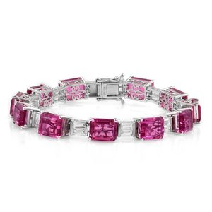 Doorbuster Radiant Orchid Quartz, White Topaz Platinum Over Sterling Silver Statement Bracelet (7.50 In) TGW 47.63 cts.