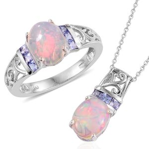 Ethiopian Welo Opal, Tanzanite Platinum Over Sterling Silver Ring (Size 5) and Pendant With Chain (20 in) TGW 3.89 cts.