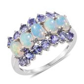 Ethiopian Welo Opal, Tanzanite Platinum Over Sterling Silver Ring (Size 5.0) TGW 2.95 cts.