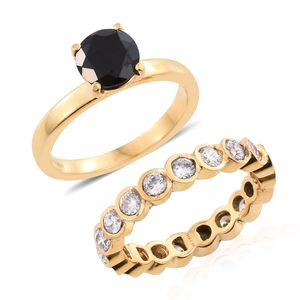 Set of 2 Thai Black Spinel, Simulated Diamond ION Plated YG Stainless Steel Rings (Size 7.0) TGW 4.50 cts.