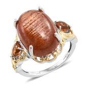 Sri Lankan Sunstone, Santa Ana Madeira Citrine 14K YG and Platinum Over Sterling Silver Ring (Size 6.0) TGW 14.76 cts.