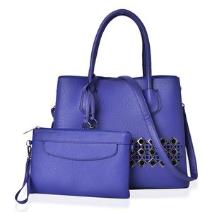 Indigo Faux Leather Laser Cut Tote on Standing Studs (13x5.5x10.5 in) with Matching Wristlet or Crossbody Bag (9x6 in)