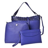 Blue Faux Leather Tote Bag (11.6x5x11.3 in), Wristlet Bag (10.6x3.7x9.4 in) and Nylon Pouch Bag (9.4x5.6 in)
