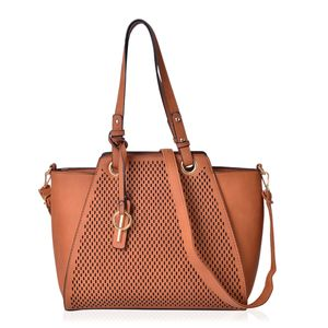 Cognac Laset Cut-out Pattern Faux Leather Tote Bag (15.2x12.6x11.4 in)