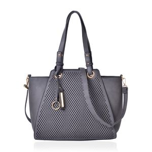 Dark Grey Laset Cut-out Pattern Faux Leather Tote Bag (15.2x12.6x11.4 in)