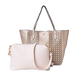 Golden Faux Leather Studded Handbag (18x4x13 in) and Ivory Pouch (12x2.5x9 in) with Removable Shoulder Strap (50 in)