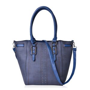 Navy Faux Leather Tote Bag (16.4x10x12.4 in)