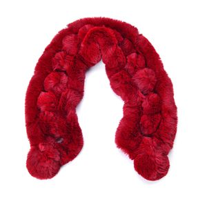 Maroon 100% Polyester Pom Pom Style Pull Through Faux Fur Scarf (29x4.5 in)