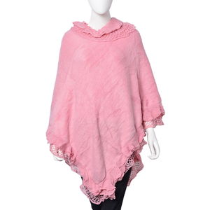 Pale Pink 100% Acrylic Triple Lace Turtleneck V-Shape Poncho (One Size)