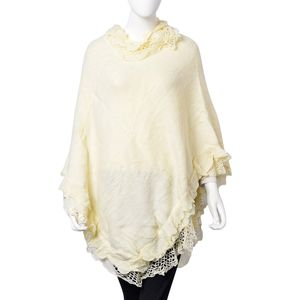 Off White 100% Acrylic Triple Lace Turtleneck V-Shape Poncho (One Size)